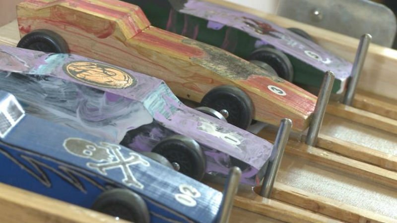 Boys and girls at the Sanford Center in Sioux City had their own Pinewood Derby.