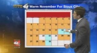 Much above average Novemeber temperatures in Sioux City.