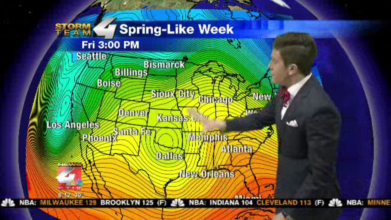 Jet Stream showing a big ridge in the heart of our nation allowing warmth to move into Siouxland.
