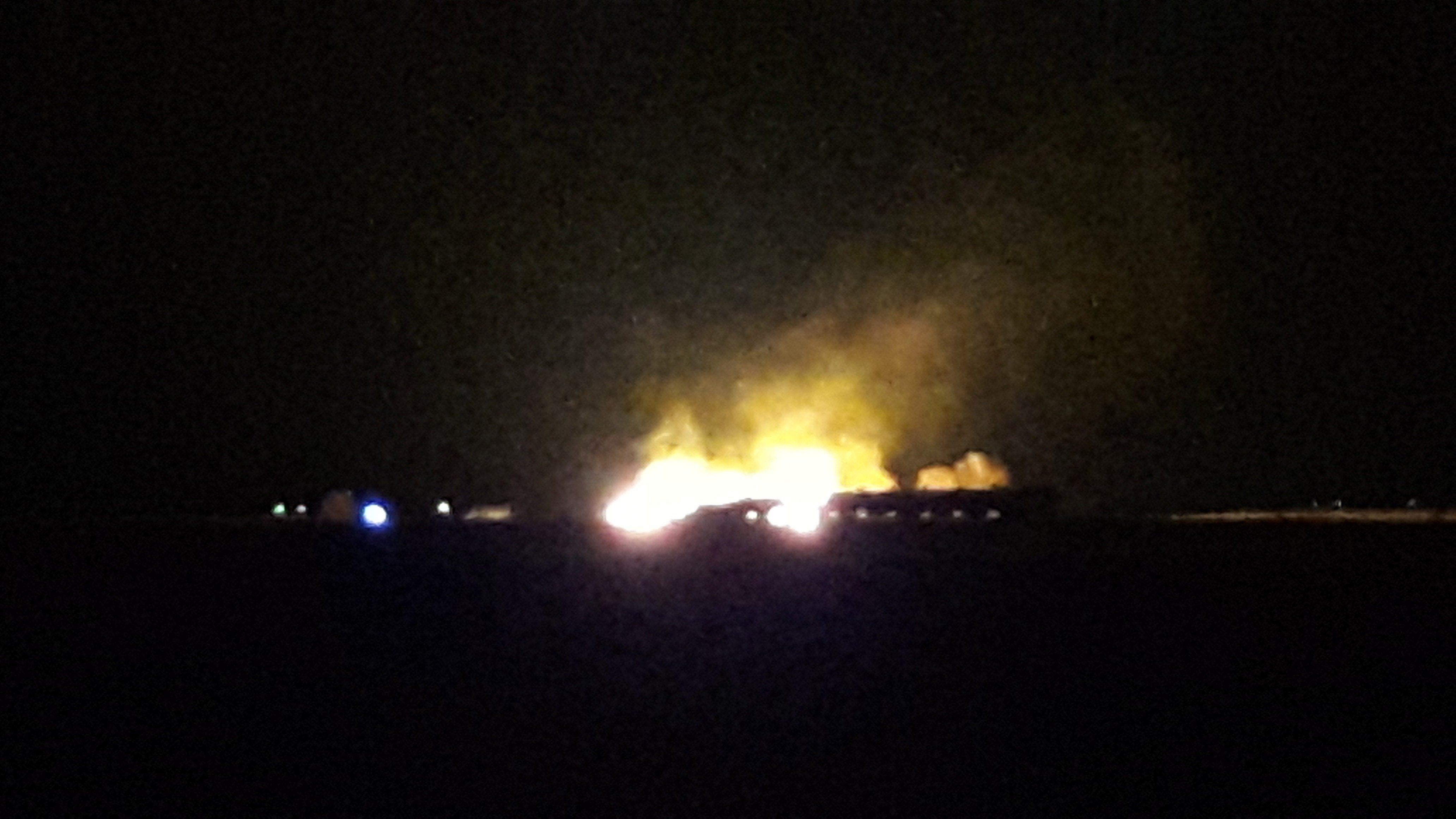 Courtesy: Ginger Hoffman - Graettinger train derailment and fire.