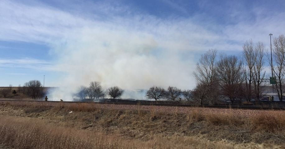 Grass fire between Highway 75 Business and I-29 Northbound near the Sioux City Water Treatment Plant.