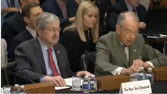 Senator Grassley introduced Governor Branstad before the Senate Foreign Relations Committee.