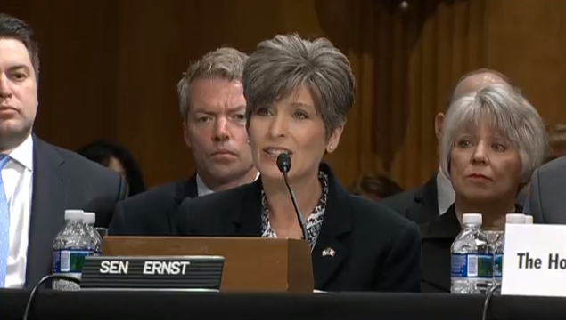Senator Ernst introduces Governor Branstad during the Senate Foreign Relations Committee Hearing.