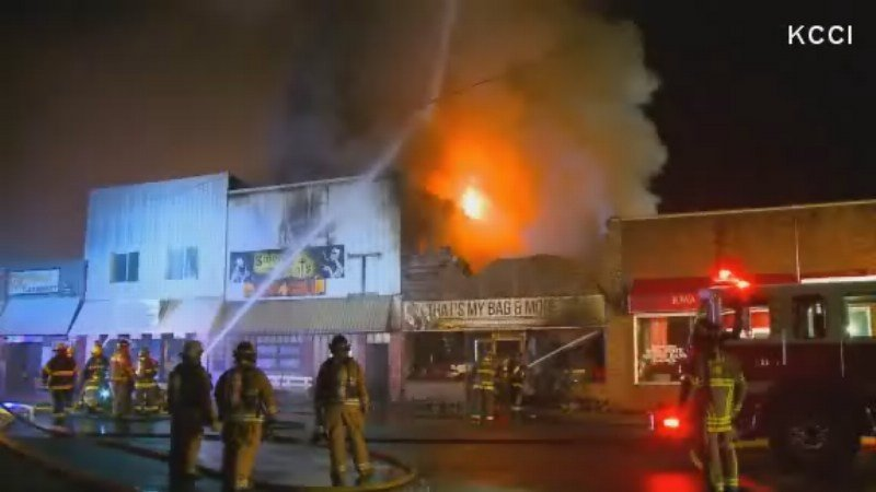 Fire causes extensive damage in central Iowa town's downtown