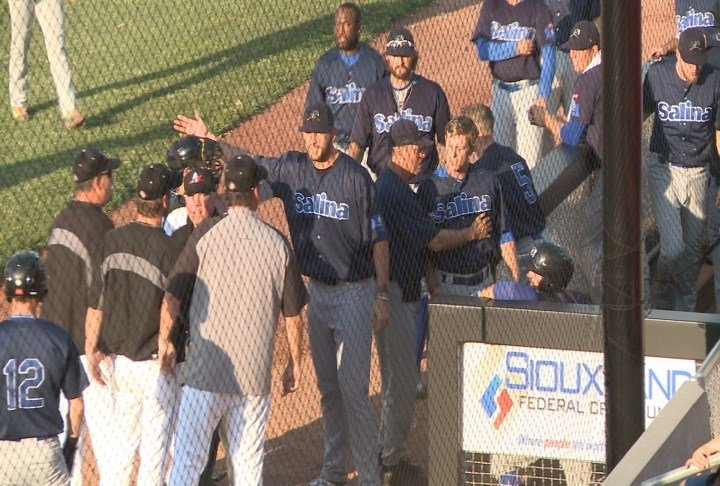 Tempers flare during Thursday's game between Sioux City and Salina.