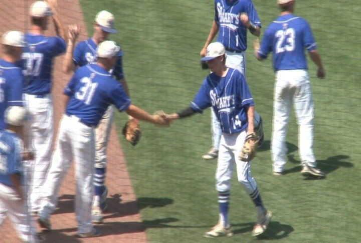 Blaine Harpenau was the winning pitcher in Remsen St. Mary's victory over North Linn.
