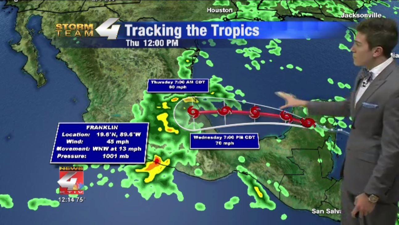 Tropical Storm Franklin Forecast Track