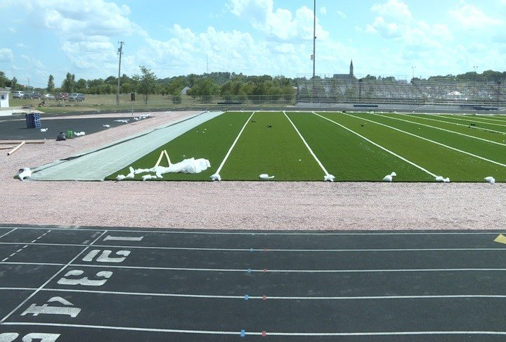 The installation of field turf at Memorial Field in Sioux City continues.
