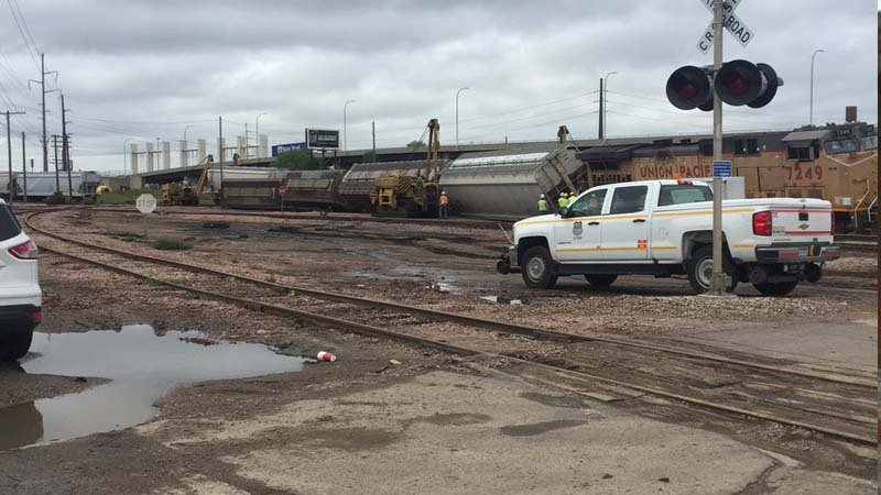 Train derailment at 3rd and Hoeven in Sioux City.