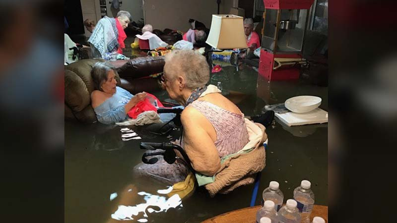 Nursing home residents rescued from waist-deep water