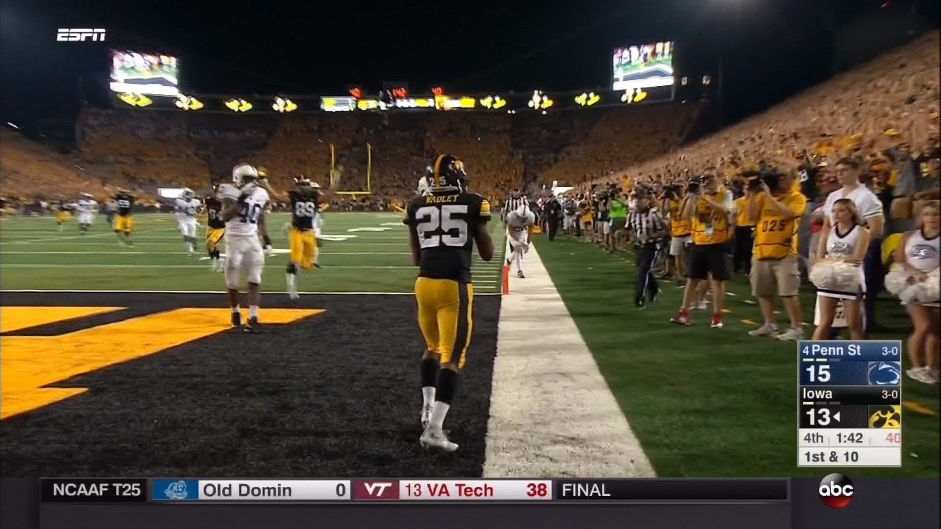 Iowa lost to Penn State on Saturday, 21-19.
