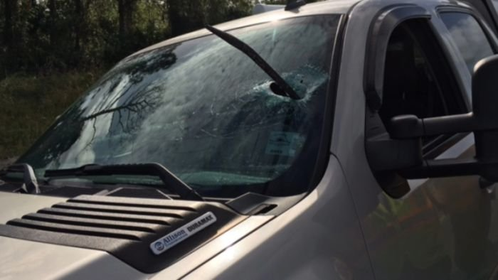 A Florida man is counting his blessings after a crowbar flew through his truck's windshield, narrowly missing him as he drove along Interstate 95.