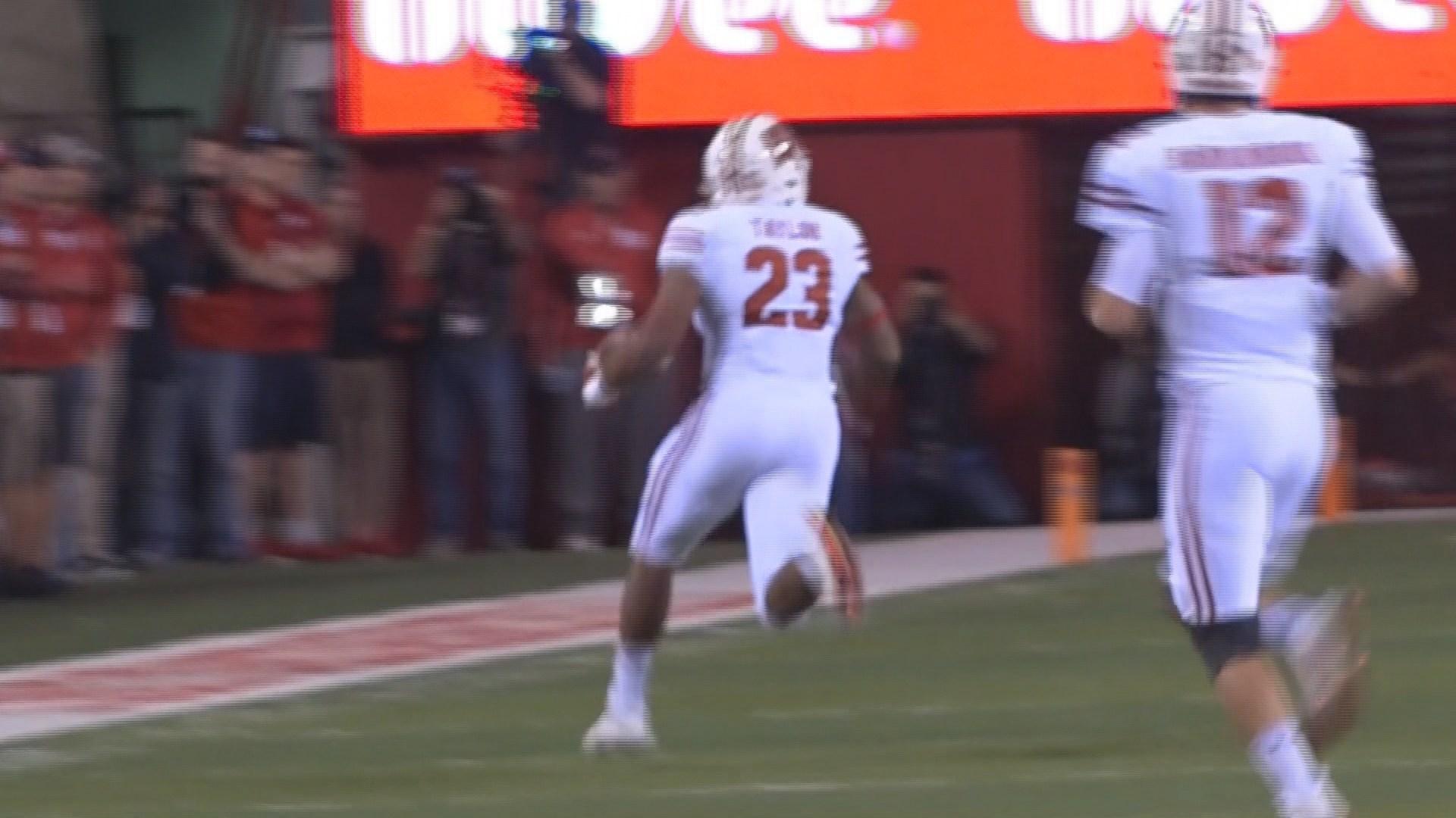 Wisconsin running back Jonathan Taylor ran for 249 yards in the Badgers' 38-17 win over Nebraska.