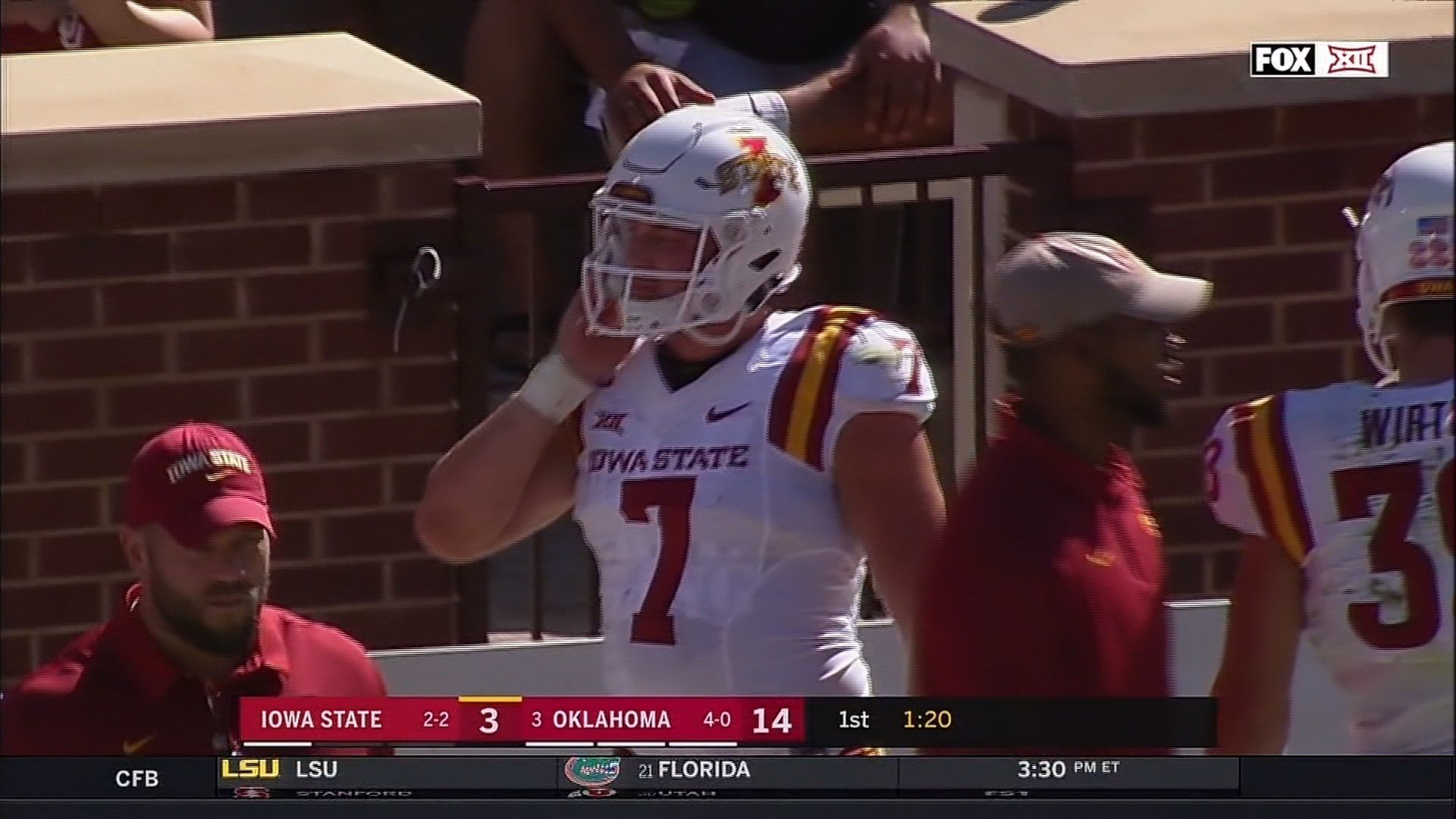 Joel Lanning helped lead Iowa State to a 38-31 win over No. 3 Oklahoma on Saturday.