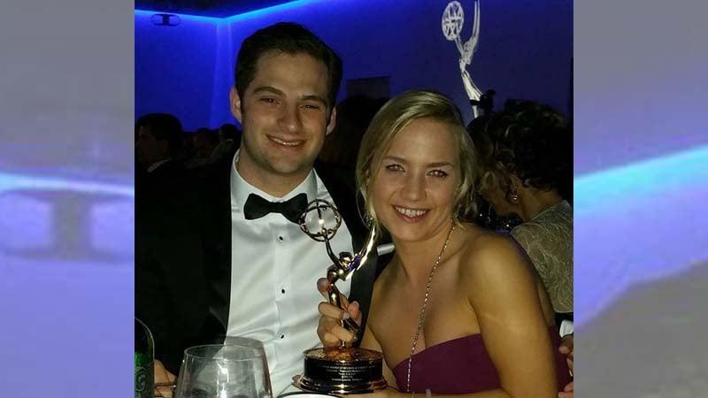 KTIV's Mason Mauro and Jennifer Lenzini accepted KTIV's Emmy for Weekend Newscast.