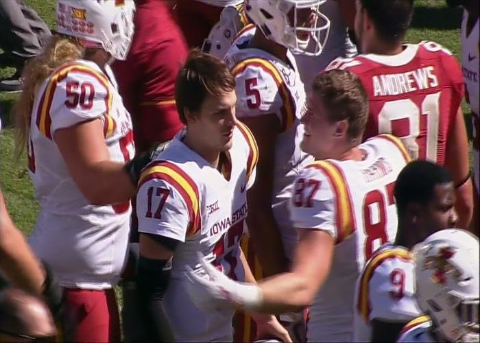 Iowa State's Kyle Kempt threw for three touchdowns in a win over Oklahoma.