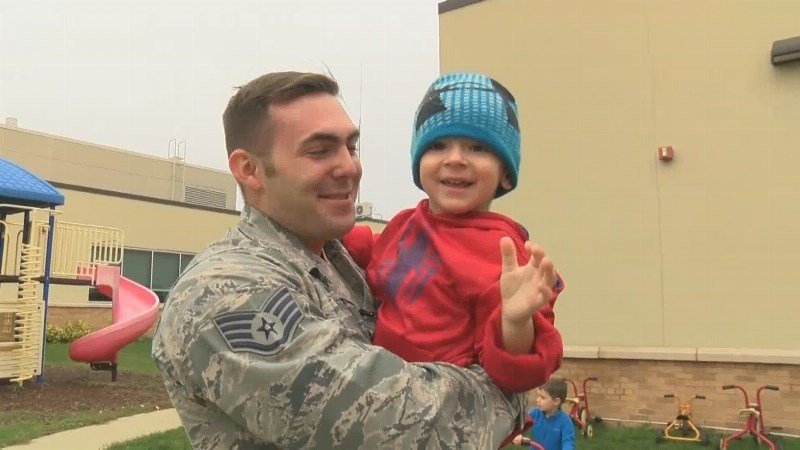 A dad from Minnesota surprises his three-year-old son after being deployed with the Air Force in South Korea for more than eight months.