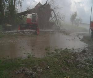 A barn sits destroyed by a toppled tree near Waterbury while water rushes through