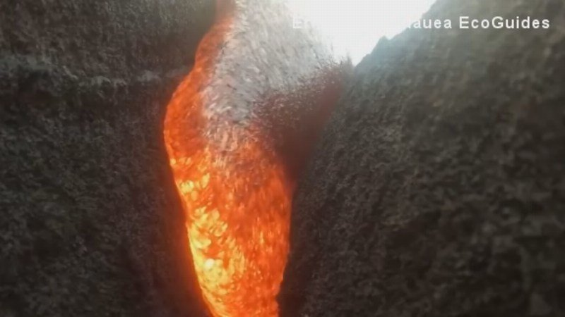 Amazing footage survives active volcano after Go-Pro becomes engulfed in lava.