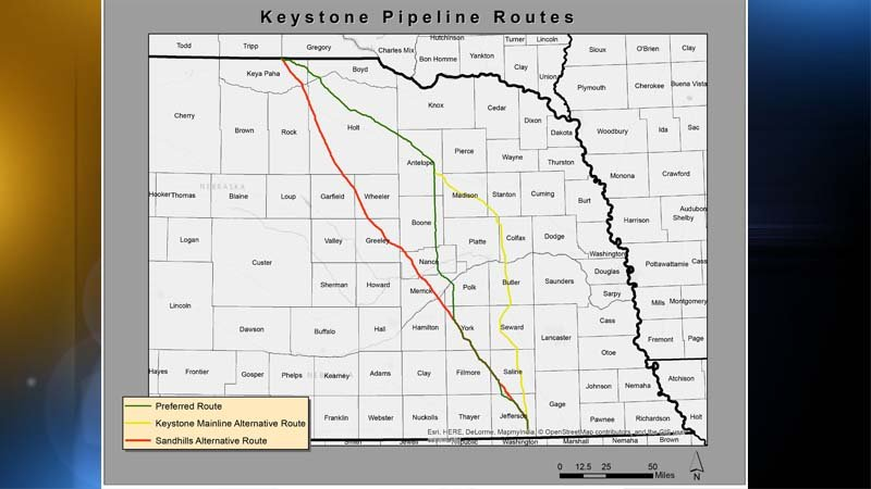 Courtesy: Nebraska Public Service Commission - GIS Map of Proposed Pipeline Route - The commission approved the alternative route marked with the yellow line.