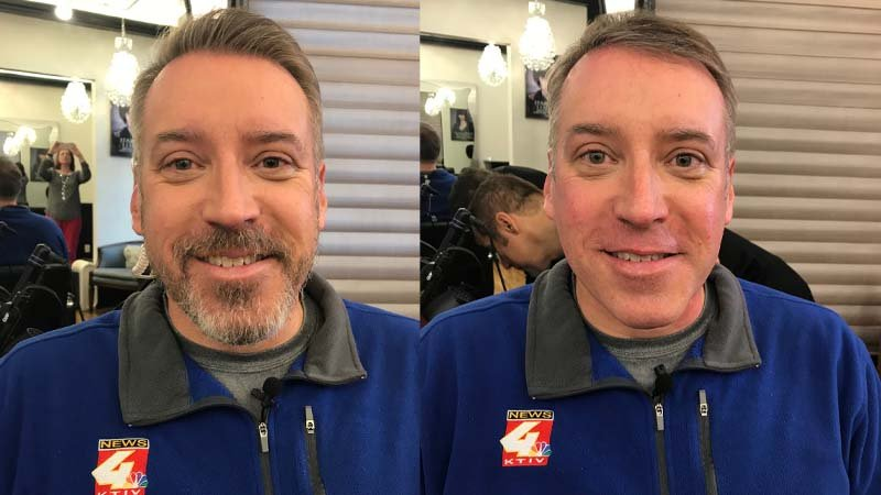 Brad's Movember beard, before and after shave by Belle Salon & Spa's Barber Bob Phillips.