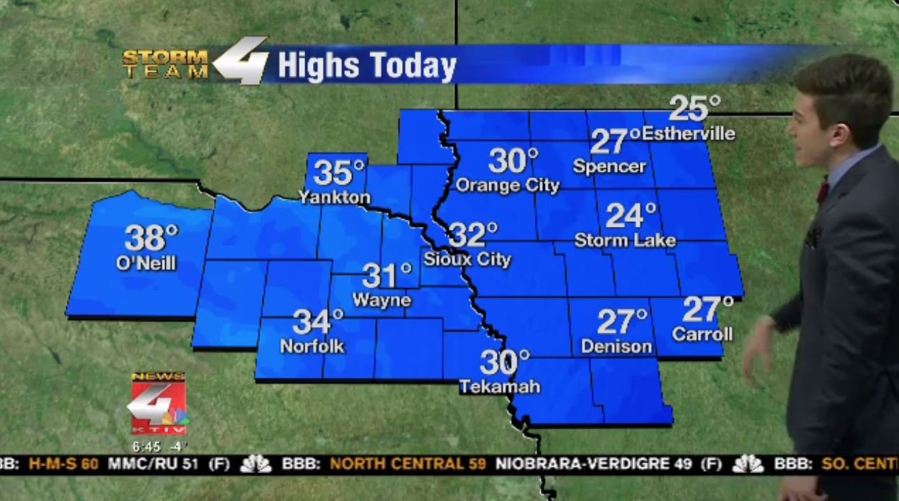 Highs Wednesday in Siouxland