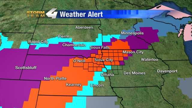 The orange shaded counties, meaning most of Siouxland and including Sioux City, will go into a Blizzard Warning later this evening and through the day on Monday.