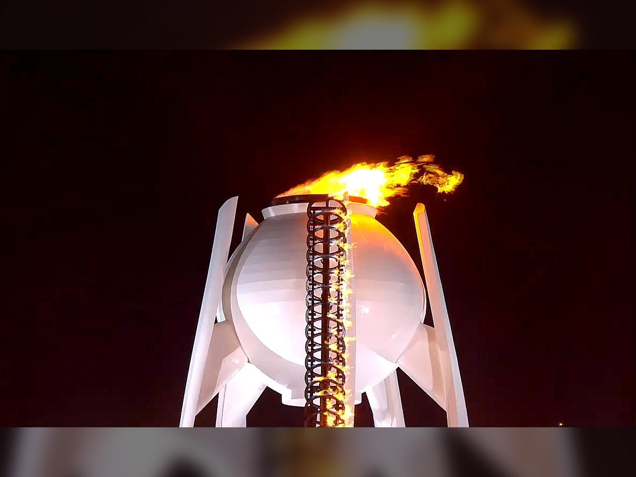 The Olympic Cauldron lit inside of Pyeongchang Olympic Stadium for the 2018 Winter Olympics games during the opening ceremony.