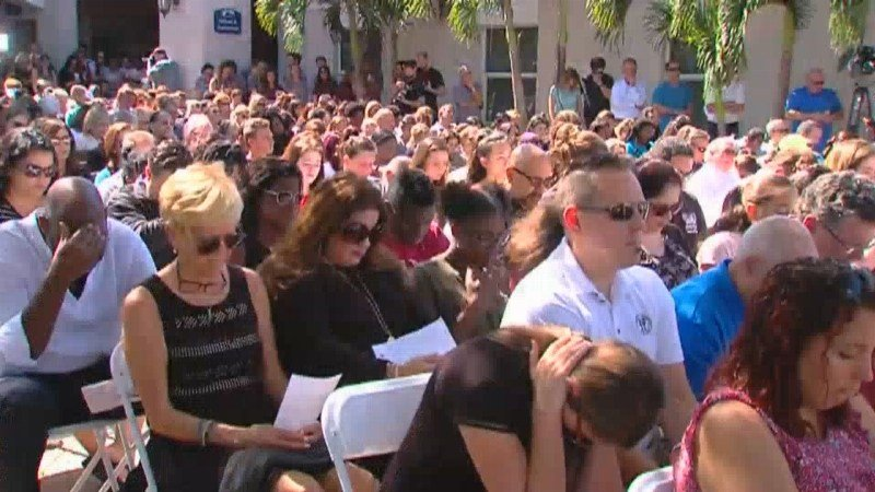 Florida Governor Rick Scott spoke at a vigil this afternoon for the victims of Wednesday's deadly shooting at Marjory Stoneman Douglas High School in Parkland.