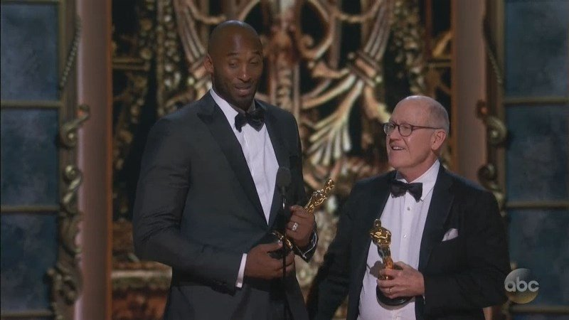 "Honors for best animated short went to NBA legend Kobe Bryant, who's credited as producer on ""Dear Basketball,"" based on a poem about his retirement from the sport."