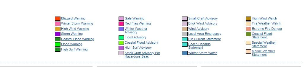 The key for the NWS Alerts and Warnings.