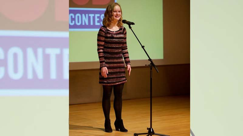 Sarah Beumler: Sarah Beumler of Sioux City Heelan performs during the 2018 Poetry Out Loud in Iowa state finals competition Sunday at the State Historical Building in Des Moines.