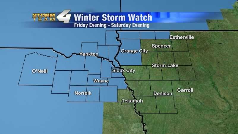 Winter storm watch Friday evening to Saturday evening