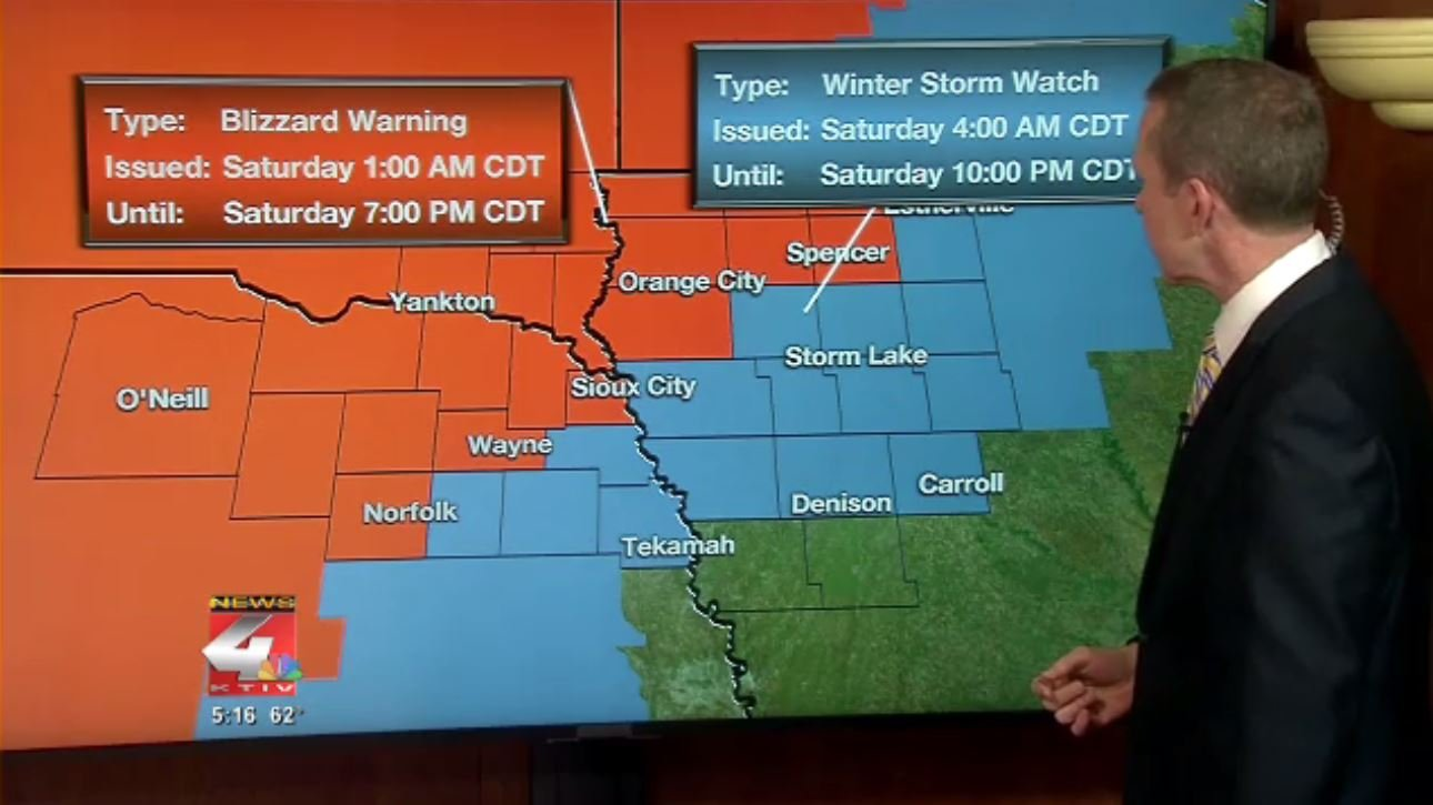 Blizzard warning area expands to take in Sioux City