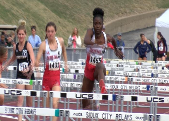 South Dakota's Britny Kerr set a new Sioux City Relays record in the 100 hurdles.