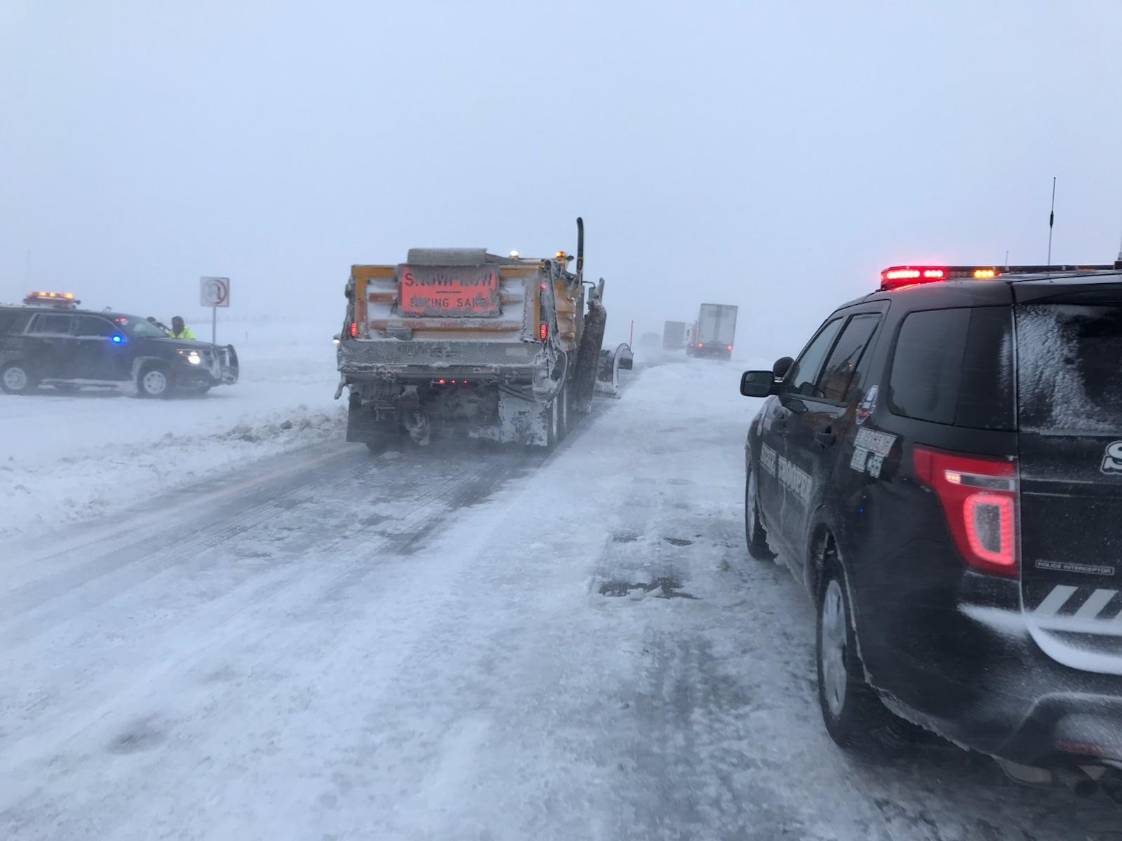 Blizzard Behind I-80 Pileup in Western Nebraska