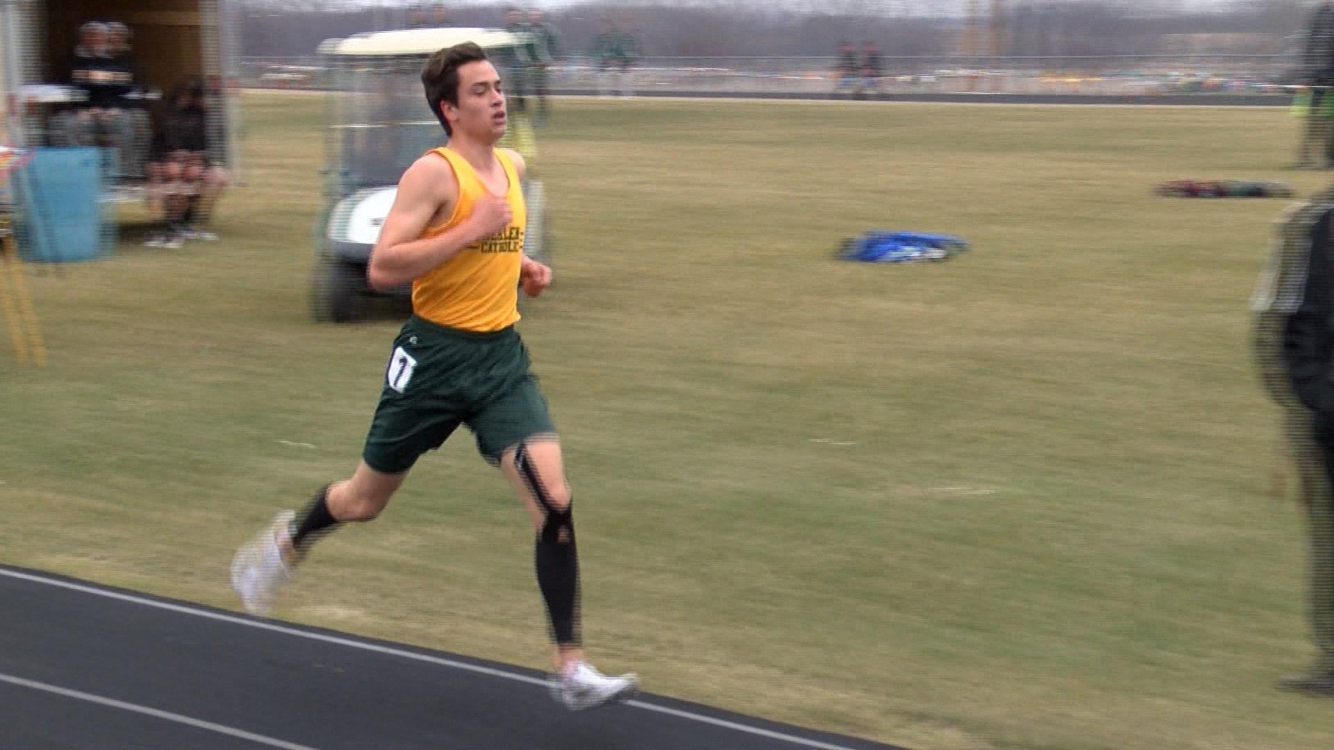 Gehlen Catholic's Will Roder wins the 1600-meter run at Friday's Blackhawk Relays.