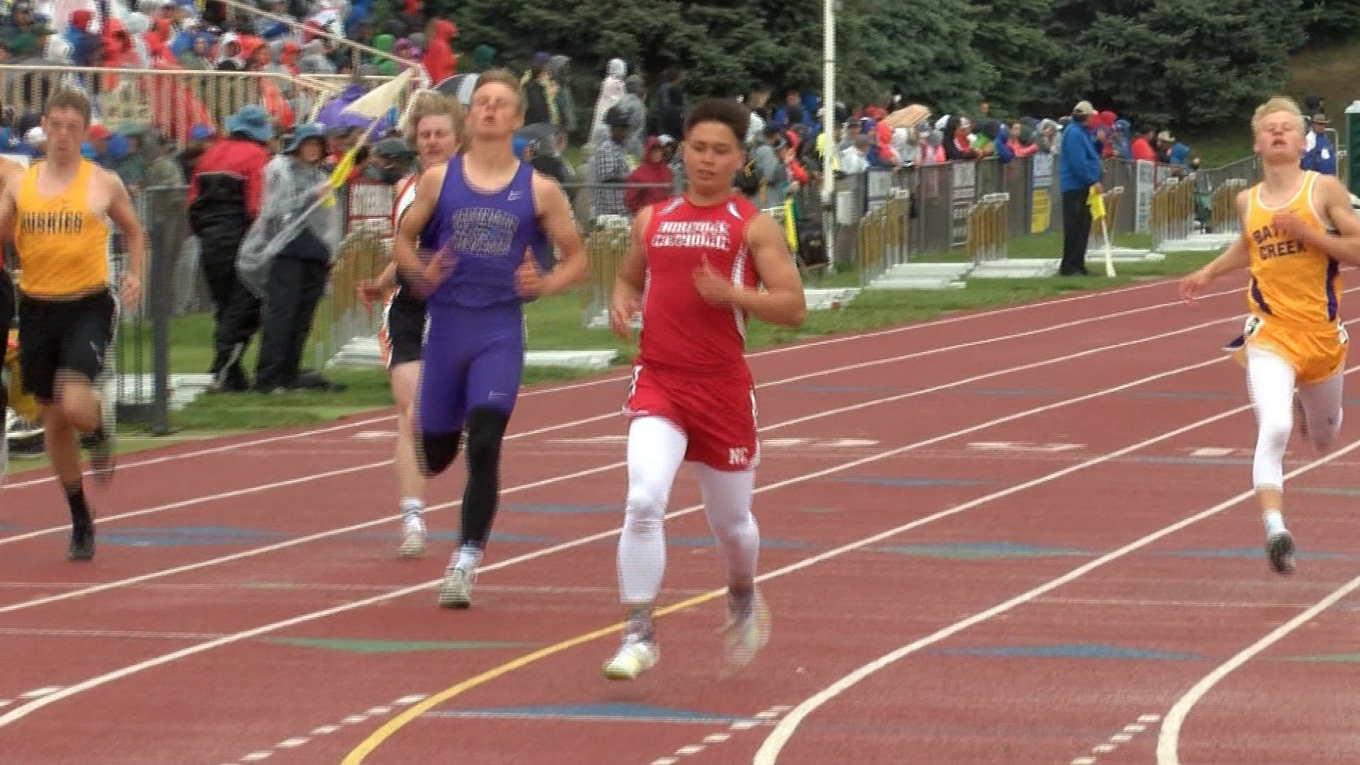 Norfolk Catholic's Dylan Kautz won the Class C 100 and 200 meter dashes on Saturday.