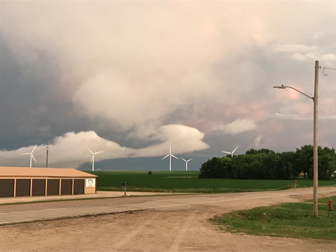 Courtesy: Eric Myrtue - Schaller, Iowa   Storm clouds facing east towards Early, Iowa where it was raining very hard!