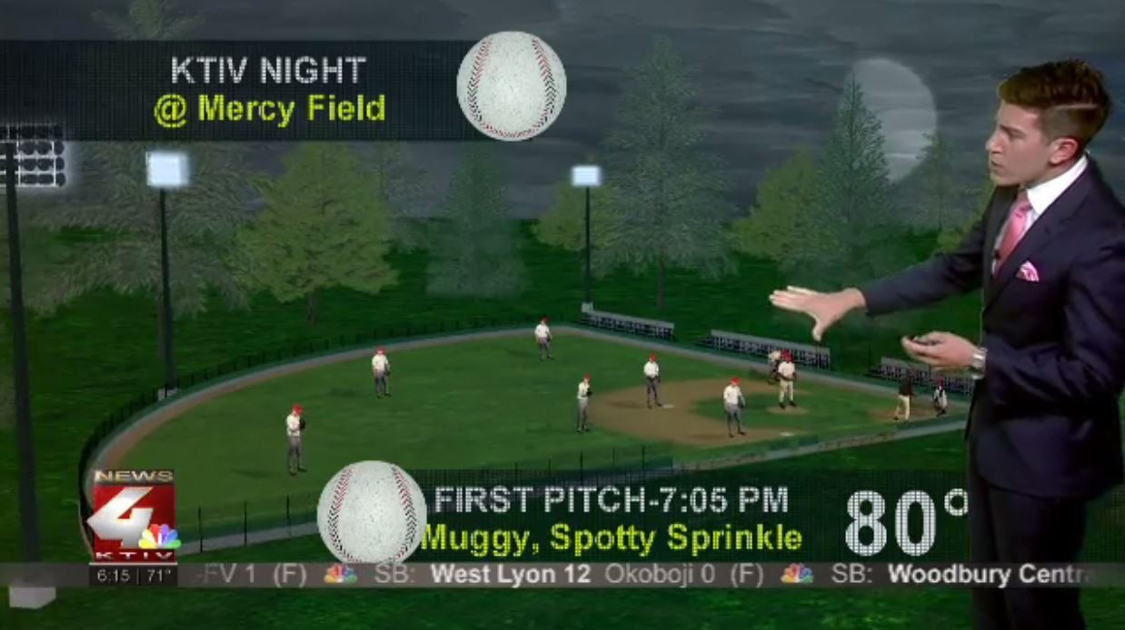 KTIV Night at Mercy Field: Forecast showing the shot at some spotty sprinkles