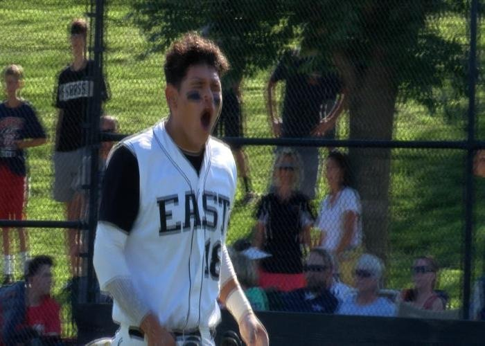 Rafi Mejia scores a run in East's 3-2 win over North on Monday.
