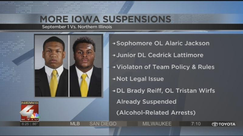 Iowa suspended two more players ahead of their season opener on September 1st.