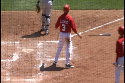 Kash Kalkowski scores a run against Purdue.