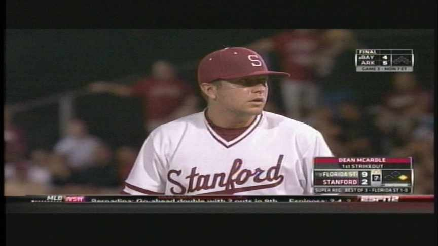 Dean McArdle pitched 1.1 innings and struck out one in Stanford's loss to Florida State.
