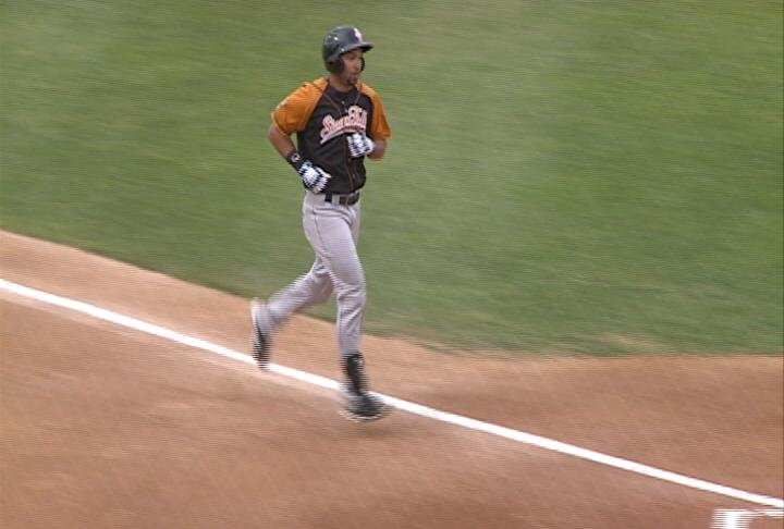 Jared Bolden rounds the bases following his two-run homer run in the second.