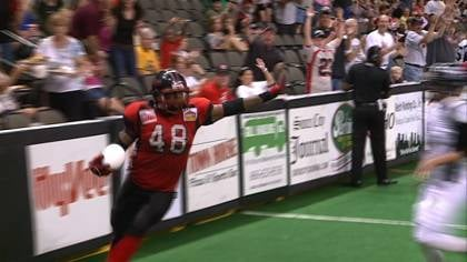 Fred Mitchell celebrates his third quarter interception in Sioux City's 61-28 win over Mid-Missouri.