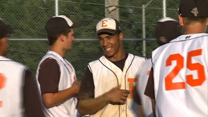 Dom Thompson-Williams smiles after striking out a batter in Sioux City East's 9-7 win over Ames.