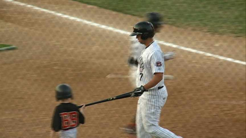 Tyler Goodro scores a run during Sioux City's 7-3 loss to Sioux Falls on Friday.