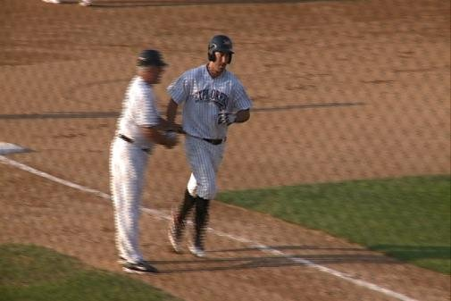 Kris Sanchez rounds third after hitting a three-run homer against Sioux Falls.