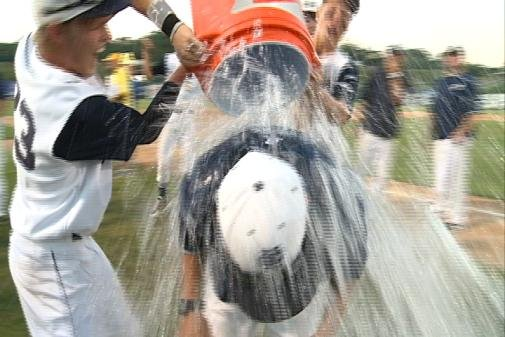 Andy Osborne gets the Gatorade bath from his players following Heelan's 4-3 win.
